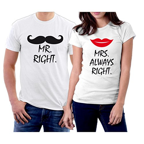 e426db1ae1 Matching Mr Right Mrs Always Right Couple T-Shirts Men L/Women S White