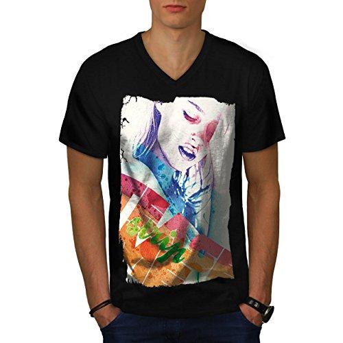 Mädchen Gesicht Streifen Mode Verführung Herren M V-Ausschnitt T-shirt | (Perücke Schwarze Verführung)