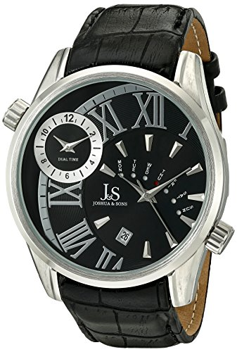 Joshua & Sons Men's Quartz Watch with Black Dial Analogue Display and Black Leather Strap JS72SSB