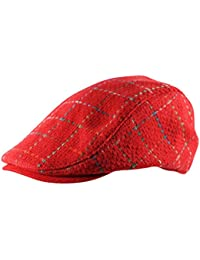 db4a8b2ec2c Itzu Mens Woven Flat Cap Hat Stitched Check Gatsby Newsboy Wool Mix Fully  Lined in Red