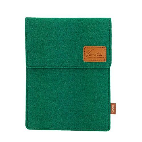 Venetto Tasche für eBook-Reader Hülle aus Filz Sleeve Schutzhülle für Kindle Kobo Tolino Sony Trekstor Dunkelgrün