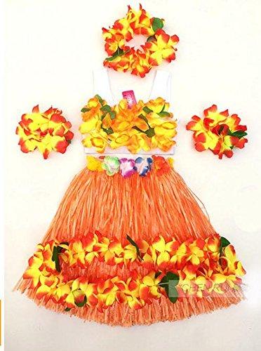 WDBS-Traje-de-40-cm-de-doble-capa-gruesa-de-Hawai-hula-danza-rendimiento-Disfraz-de-rendimiento-da-de-los-nios-un-conjunto-de-seis-piezas-Orange