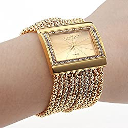 Women's Gold Diamond Case Alloy Band Bracelet Watch