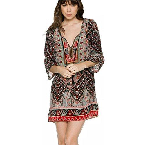 Manadlian-Robes Longue, Femmes Manches 3/4 Motif Géométrique Vintage Imprimé Lâche Robe DÉté Multicolore