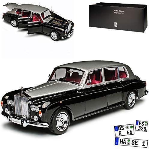 Kyosho Rolls Royce Phantom VI Limousine Schwarz Silber 1968-1991 1/18 Modell Auto - Phantom Modell Rolls-royce