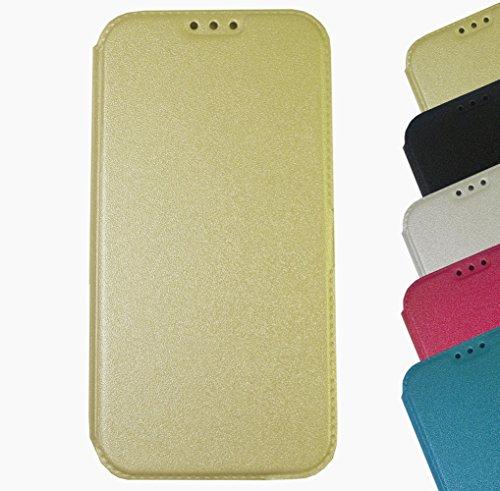 Für Apple iPhone Book Pocket Case Hülle Flip Cover Klapptasche Magnet iPhone 6 - 6s Gold Gold + Displayschutzfolie