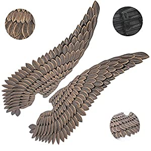 51DZXI9V64L. SS300  - Home Decor Studio Stunning Gold Angel Wings Ornaments Large Metal Decorative Wall Art Feature 132.00 cm by 48 cm each Ideal for Selfies Suitable for Bars Clubs Restaurants Cafes and the Home