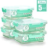 [5-Pack,34Oz] Glass Containers for Meal Prepping - Food Storage Containers with Locking Lids