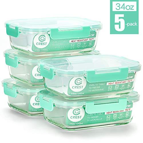 Vorratsbehälter mit Deckel (5-Teiliges of 1040 ml) Rechteckig Glas-Frischhaltedosen, Luftdicht, Lunchboxen