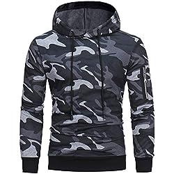 DEELIN Hommes Mode Slim à Manches Longues Camouflage Imprimé Cordon de Serrage à Capuche Sweat Tops Pull