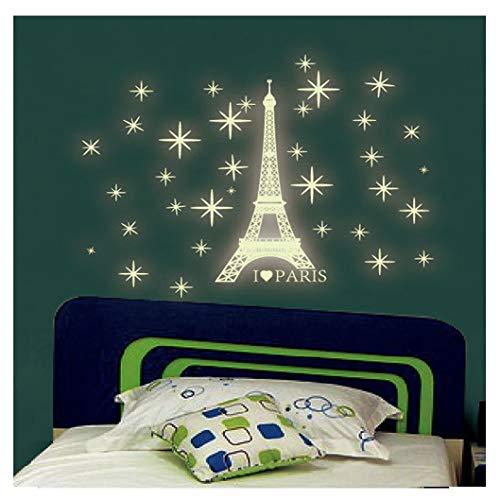 Kuke Wandtattoo Leuchtender Paris Tower Aufkleber Wand-Aufkleber PVC Wandsticker für Wohnzimmer Schlafzimmer - Paris-wand-aufkleber