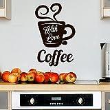 Wandtattoo in deiner Wunschfarbe Coffee With Love Kaffee Tasse Küche 53x34 cm Wand Aufkleber Sticker