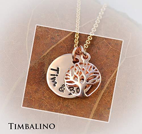 Namenskette, Rosegold Anhänger, Lebensbaum, Tree of life
