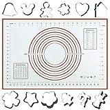 Kaufam Tappetino Silicone Forno Pasticceria, con 12 Stampi per Dolci, Spianatoia per Impastare Silicone, Accessori Cucina per Pastry Made (60 x 40 cm)