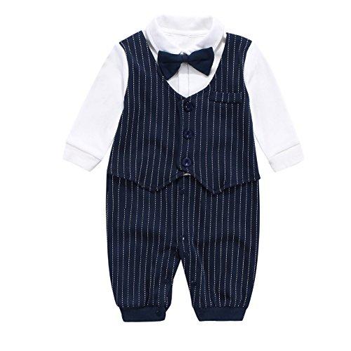 Fairy Baby Baby Outfits Langarm Strampler Jungen Smoking Baby Baumwolle Gentleman Outfit Bowknot Weihnachts/Taufstrampler Kleidung, 59(0-3 Monate), Navy Blau Streifen