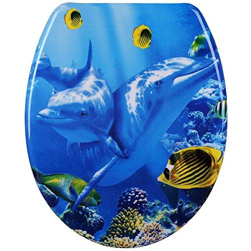 Deuba Toilettendeckel doppelte Absenkautomatik mit ABS-Schaniere inkl. Montagematerial Toilettensitz Deckel Duroplast Delphin -