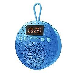 VTIN Bluetooth Lautsprecher, Mini Bluetooth 4.0 Speaker mit FM Radio 5W Tragbarer Wasserdichte Wireless Lautsprecher mit Wecker Funktion Freisprecheinrichtung für Outdoor, Dusche für iPhone iPad Freisprech usw