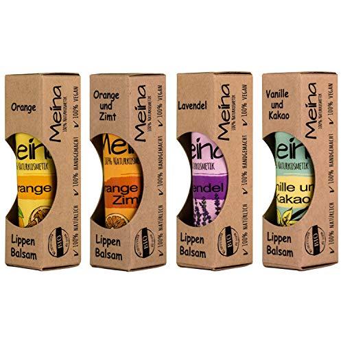Meina Naturkosmetik - Natürlicher Lippenpflege Set gegen trockene Lippen (4 x 5 g) Bio Lip Balms für Männer und Frauen - Vegan - Handgemacht - Vegan Organic Lip Balm