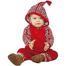 Homebaby - Bambino Ragazzo delle Neonate Stampa Natalizia Pagliaccetto con  Cappuccio Tuta Abiti da Pigiama Costume 5c5a7914a649
