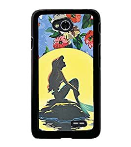 Fuson Premium 2D Back Case Cover Cute girl in beach With red Background Degined For LG L70