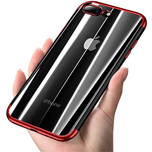 Crystal Skin Tpu Case (iPhone 7Plus Fall, iPhone 8Plus Fall, coolqo [Unterstützung Wireless Charging] superdünn Crystal Clear Soft TPU Bumper Slim Galvanik transparent Schutzhülle & Skin Cover für Apple 14cm, A_Red)