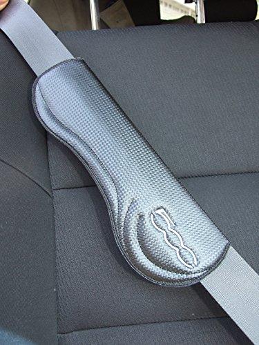 Bulmar 2pieza Carbon Fiber Tirantes Cinturón acolchado en negro fibra de carbono para Fiat 500
