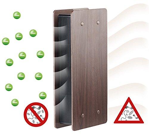 newgen medicals Ionisierer: Luftreiniger mit Ionisator und zuschaltbarem Lüfter, dunkle Holz-Optik (Ionenlüfter)