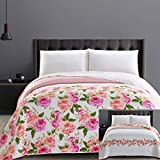 DecoKing 32411 Tagesdecke 220x240 cm Mikrofaser Bettüberwurf Steppung Blumenmuster zweiseitig Pflegeleicht weiß rosa orange Lachsfarben grün English Rose