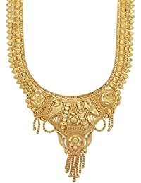 Mansiyaorange One Gram Gold Original Real Look Party Wedding Wear Golden Necklace Sets For Women(10 INCH LONG)