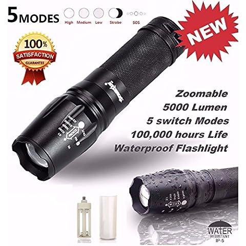 Fortan 5000 lumen 5 Modi T6 Zoomable LED 18650 della torcia elettrica della torcia della luce della lampada G700 X800