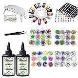 Résine époxyde de cristal 200 ml, pigment liquide de 13 couleurs + 48 formes de...