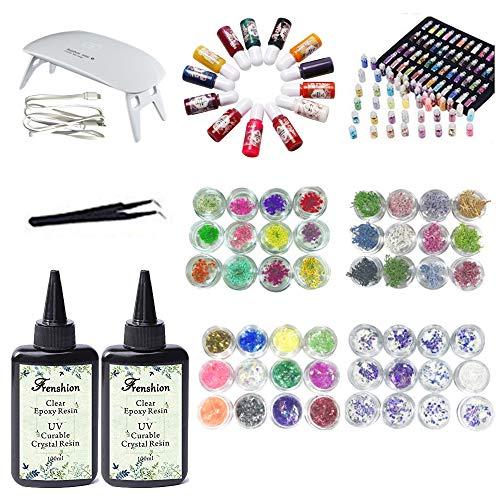 Nehmen Sie Einen Augenbrauen-kit (200ML Crystal Epoxy Resin, 13 Farbe Liquid Pigment + 48 Flaschenformen + trockene Blumen Korallenblumen + Glitter Sequins mit Pinzette und Lampe für Schmuck Ohrringe Halskette Armband)