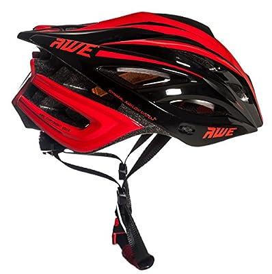 AWE® AWEBladeTM FREE 5 YEAR CRASH REPLACEMENT* In Mould Adult Mens Racing Cycling Helmet 55-58cm Black/Red by AWE®