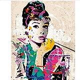 UJGIOY Malen nach Zahlen Rahmenloseölgemälde Bild färbung by Zahlen DIY handgefertigte wandkunst leinwand malen hauptdekoration Audrey HepburnfürZimmerGeschenk40x50 cm
