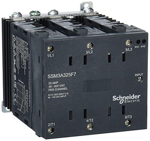 Schneider SSM3A325F7 Halbleiterrelais, Hutschiene, E: 90-140VAC, A: 48-600VAC, 3x 25 A, 3PH, Nullsp