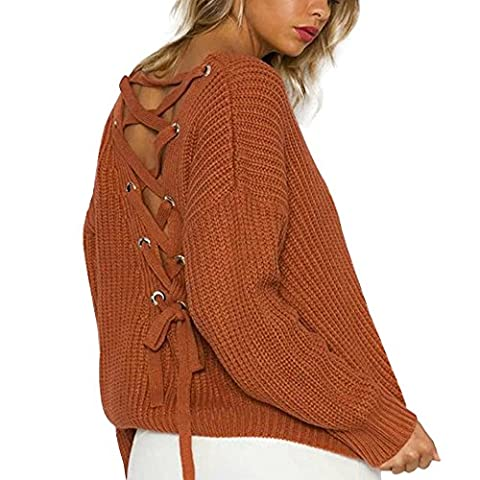 Women Sweaters,Women's Casual Long Sleeve Knitted Backless Bandage Sweaters (Free, Brown)