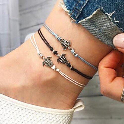 Jovono Böhmen Fußkettchen Boho Beach Foot Jewelry Schildkröte Fußkette für Damen und Mädchen (3pc)