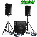 PACK SONO DJ 2200W CUBE 1512 avec CAISSON + ENCENTES + PIEDS + CABLES + 4 Strobes