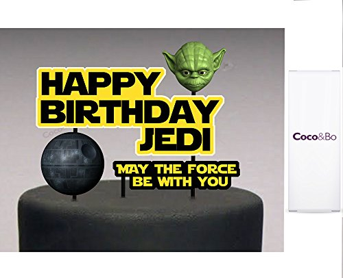 Preisvergleich Produktbild 1 x Coco & Bo – Star Wars Happy Birthday Cake Topper, Jedi Yoda und Death Star Thema Party Dekorationen & Cake Zubehör – May the Force be with you