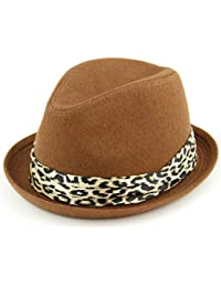 90e103e773e06 Hawkins women s felt rolled brim trilby hat with satin leopard print band