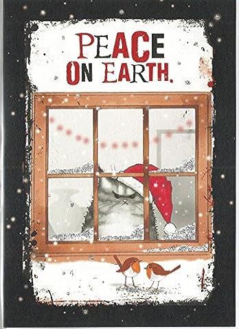 Peace on earth Grincheux Chat tigré Chapeau de Père Noël