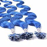 hair2heart 25 x 0.5g Echthaar Bonding Extensions, gewellt - 40cm - #blau, Keratin Haarverlängerung Bondings
