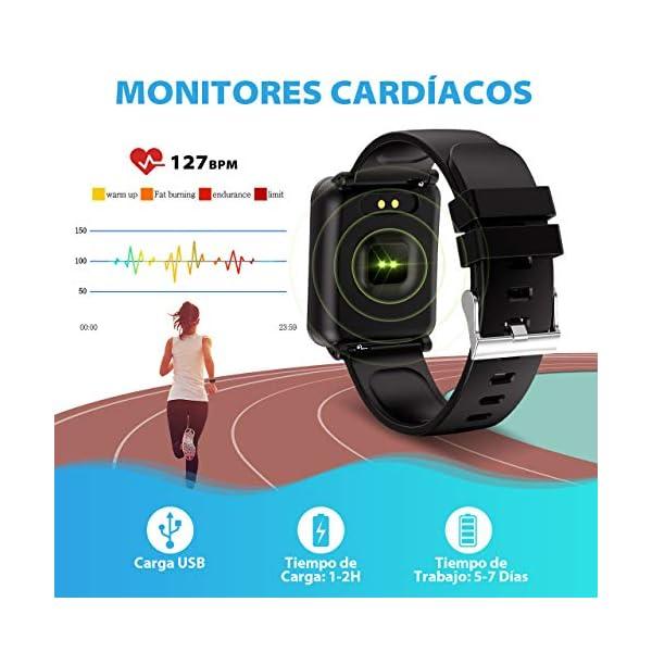Seneo Reloj Inteligente Hombre, Reloj de Seguimiento de Actividad, Podómetro Deportivo con Monitor de Ritmo Cardíaco Monitor de Sueño para Teléfonos Inteligentes Android o iOS 4