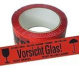 Paketband 12 Rollen rot Vorsicht Glas Klebeband Warnband fragil Packband Paketklebeband 66m x 50mm