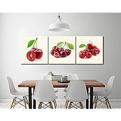 Fruta,cereza,rojo,blanco_Cuadro de pintura al óleo moderna Impresión de la imagen en la lona Arte de la pared para la sala de estar, Dormitorio,decoración del hogar,3 piezas 40x40,con marco