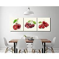 LB Fruta,cereza,rojo,blanco_Cuadro de pintura al óleo moderna Impresión de la imagen en la lona Arte de la pared para la sala de estar, Dormitorio,decoración del hogar,3 piezas 40x40,con marco