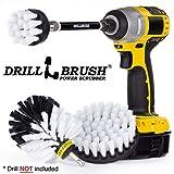 Drillbrush Cocina de la limpieza Cepillos para el kit de taladro con Largo Alcance archivo adjunto. Tres piezas de Energía Media Scrub sistema de cepillo todos los fines automotive soft-blanco