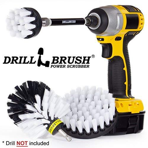 Drillbrush Küchenreinigungsbürsten für Drill Kit Mit Long Reach Befestigung. Drei Stück Medium Power Scrub Pinsel-Set all purpose automotive weich-weiß (Lkw-wasch-kit)