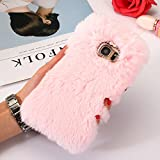 J5 2017 EU Versión J530 Lovely Case, Samsung J5 Funda, SevenPanda Plush Rabbit Case Funda Protectora Hecha a mano Stylish Cute Diamond Rhinestone Bling Crystal Brillante Rhinestone Crystal Bow Case para teléfono Mujeres Girly Cute TPU Silicona Plush Wool Warm Fluffy Fluffy Rabbit Cell Phone Funda Resistente a Arañazos Furry Rabbit Funda Protectora Suave Bunny Fur Fluffy Carcasa Fina para Samsung Galaxy J5 2017 - Rosa