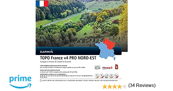 Garmin - Carte TOPO France V4 Pro - ¼ de France Nord-Est